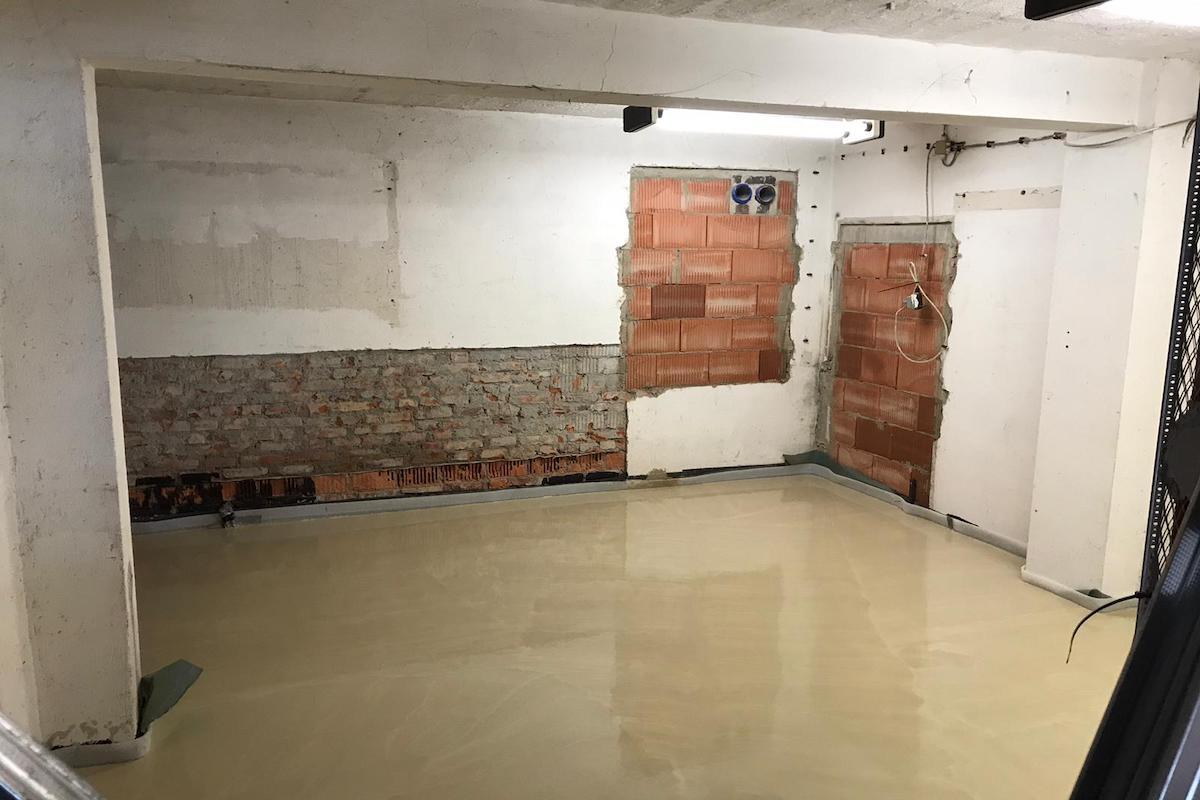 Fußboden im Kohlebunker betoniert
